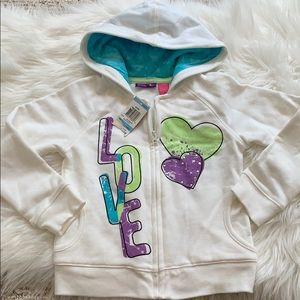 Girls zip up hoodie sweatshirt